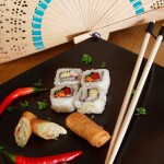 Sushi and spring rolls